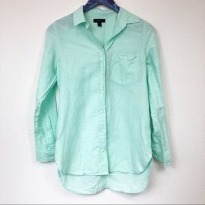 J. Crew Teal Cotton Linen Boy Shirt